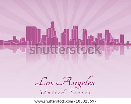 Los Angeles skyline in purple radiant orchid in editable vector file - stock vector