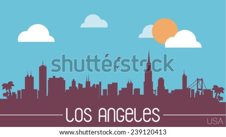 Los Angeles USA skyline silhouette flat design vector illustration. - stock vector