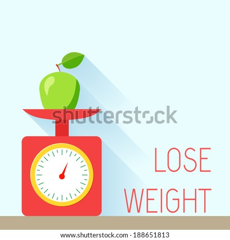 Lose weight diet body balance poster with scales and apple vector illustration - stock vector