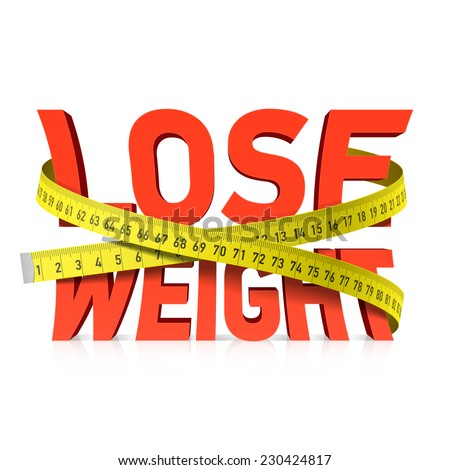 Lose weight word with measuring tape concept. Vector. - stock vector