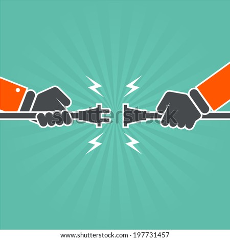 Lost connection - two hands with unplugged (torn) electric cord - stock vector