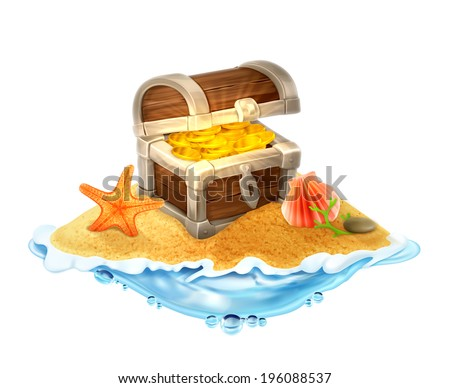 Lost treasure chest of gold on the island vector illustration - stock vector
