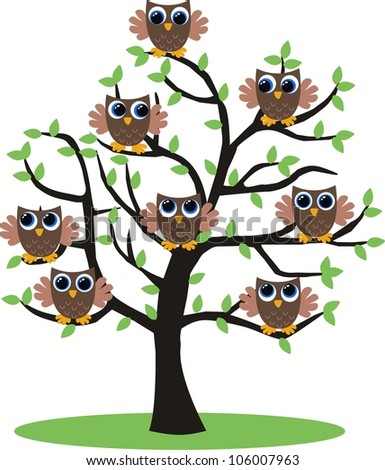 lot of owls in a tree - stock vector