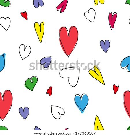 lots of colorful pattern of hearts - stock vector