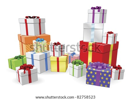 Lots of colorful wrapped presents for  Birthday, Christmas or other celebration - stock vector