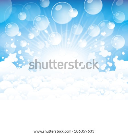 Lots of foam and transparent bubbles on a blue background. - stock vector