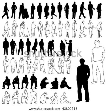 Lots of Men Silhouettes & Line Drawing 01 - stock vector
