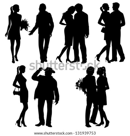 Lots of people in silhouette - vector set - stock vector