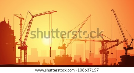 Lots of Tower Cranes on Construction Site - stock vector