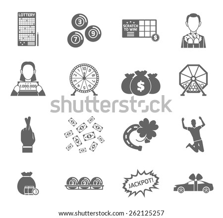 Lottery and profit fortune games black icon set isolated vector illustration - stock vector