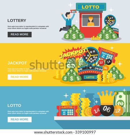 Lottery horizontal banner set with lotto jackpot elements isolated vector illustration - stock vector