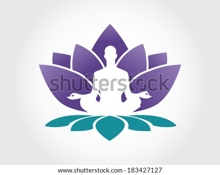 Yoga Lotus Symbol Lotus flower abstract vector logo design template with human doing ...