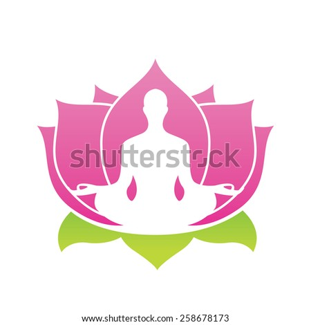 Yoga Lotus Symbol lotus flower abstract vector...