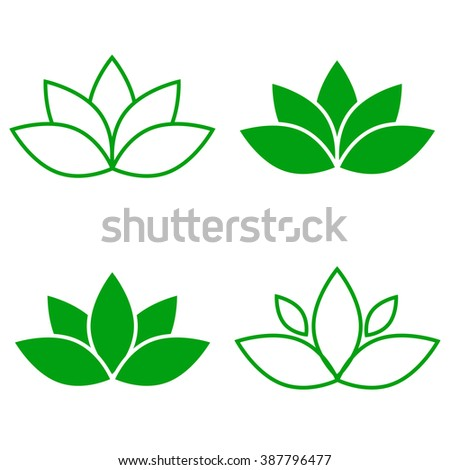 Lotus flower green icon set element vector. - stock vector