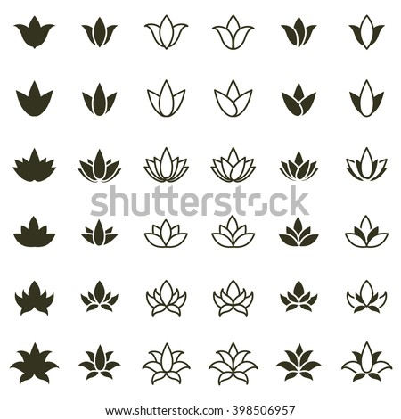 Lotus flower icon set for spa salon, yoga class or wellness industry. Vector - stock vector