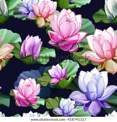 Lotus flowers with leaves and buds. Seamless background pattern. Hand drawn elements. Vector - stock. - stock vector