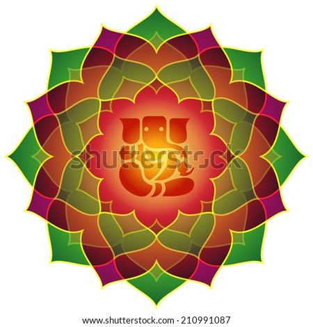Lotus Ganesha Design - stock vector