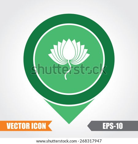 Lotus Icon On Map Pointer. Eps.-10. - stock vector