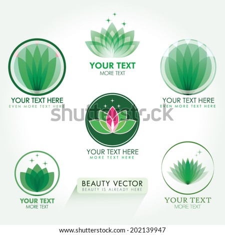 Lotus Icon set in green. Good for Beauty Industry, Beauty Salon, Med Spa, Alternative Medicine, Spa, Beauty, Spa Boutique, Yoga Club, Massage and Recreation, Shiatsu, Natural Healing, Acupuncture - stock vector