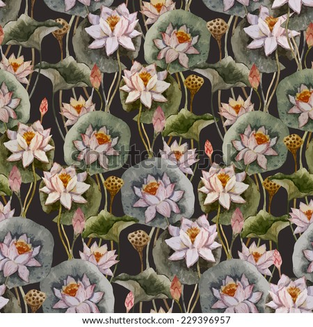 lotus, painting, pattern - stock vector
