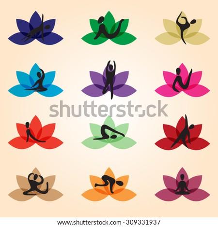 Lotus symbol Yoga - stock vector