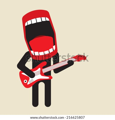 loud singing guitarist - huge mouth - stock vector