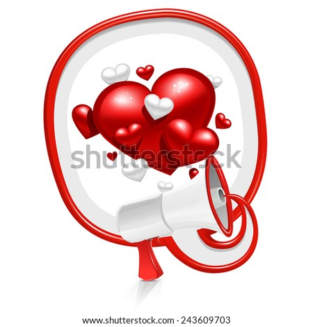 Loudspeaker speech balloon: lovely hearts - stock vector