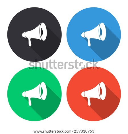 loudspeaker vector icon - colored(gray, blue, green, red) round buttons with long shadow - stock vector