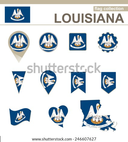 Louisiana Flag Collection, USA State, 12 versions - stock vector