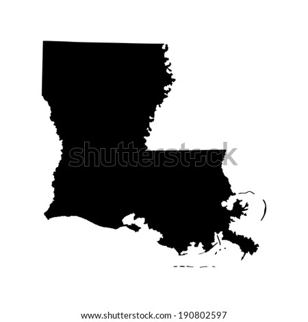 Louisiana vector map isolated on white background. High detailed silhouette illustration. - stock vector
