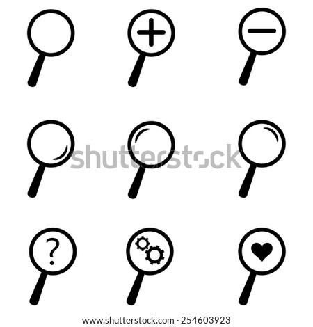 Loupe Icons & Simbols - stock vector