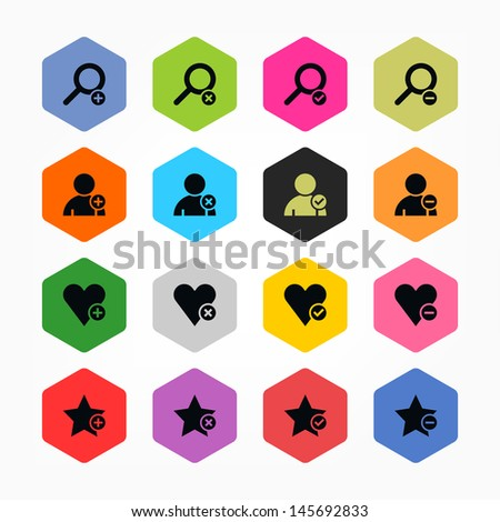 Loupe, user profile, star, heart, plus, delete, check mark, minus sign set 07. Black on color. Simple rounded hexagon internet button. Minimal icon solid plain flat tile. Web design elements 8 eps - stock vector
