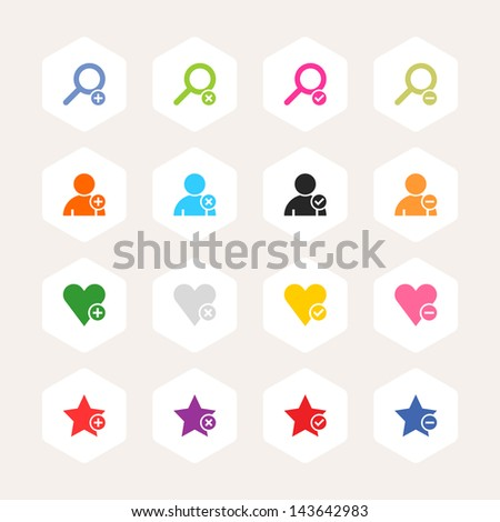 Loupe, user profile, star, heart, plus, delete, check mark, minus sign. Simple rounded hexagon internet button. Minimal metro style icon set. Solid plain color flat tile. Web design elements 8 eps - stock vector