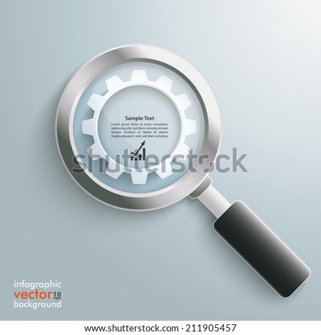 Loupe with white gear on the grey background. Eps 10 vector file. - stock vector