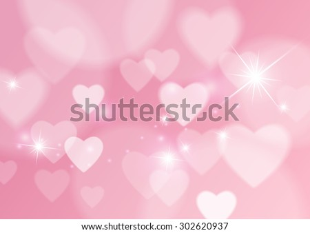 Love Abstract Background with Hearts and Bokeh Lights, Vector Illustration - stock vector
