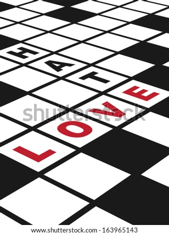 Love and Hate. Illustration of  a conceptual crossword puzzle about love. Vertical EPS10 vector. - stock vector