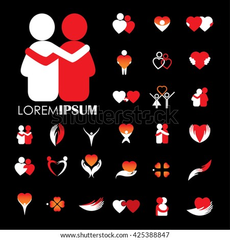 love and heart intimacy and empathy vector logo icons. love icon vector. love icon object. love icon image. love icon graphic. heart icon jpg. heart icon eps. heart icon symbol. heart icon sign. - stock vector