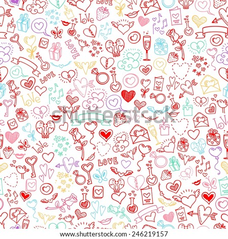 love and hearts doodles, seamless background, vector - stock vector