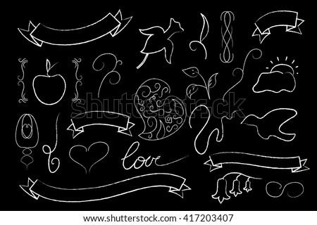 Love and wedding vector clipart, white chalk on black wedding clipart, hand-drawn chalkboard for love letters, wedding invitation decor, chalk ribbon banner, heart, flower, text frame, ar deco decor - stock vector