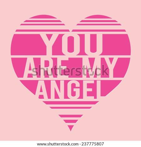 Love Angel girl  typography, t-shirt graphics, vectors - stock vector