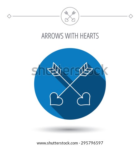 Love arrows icon. Amour equipment sign. Archer weapon with hearts symbol. Blue flat circle button. Linear icon with shadow. Vector - stock vector