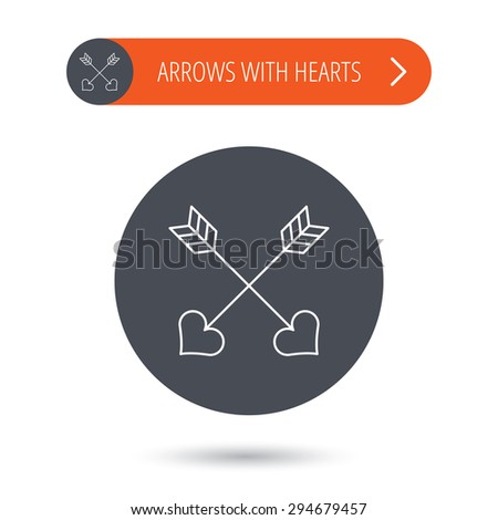 Love arrows icon. Amour equipment sign. Archer weapon with hearts symbol. Gray flat circle button. Orange button with arrow. Vector - stock vector