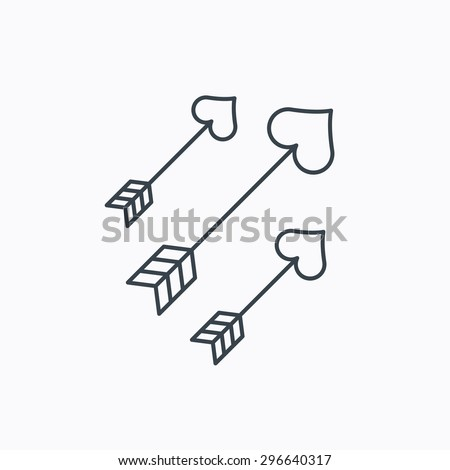 Love arrows icon. Amour equipment sign. Archer weapon with hearts symbol. Linear outline icon on white background. Vector - stock vector