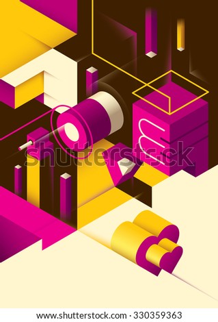 Love background with isometric abstraction. Vector illustration. - stock vector