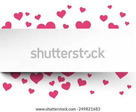 Love background with pink hearts. Valentine's greeting card. Vector illustration.   - stock vector