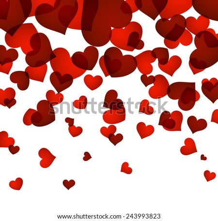 Love background with red hearts. Valentine's greeting card. Vector illustration.  - stock vector