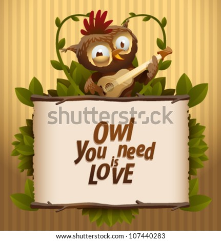 Love banner with funny owl, vector 03 - stock vector