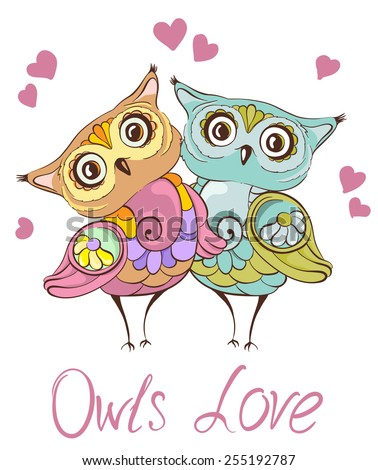 Love birds. Greeting card with cute owls couple. Vector hand drawn illustration - stock vector