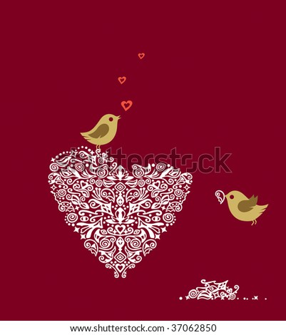 Love birds making their heart nest and singing - stock vector