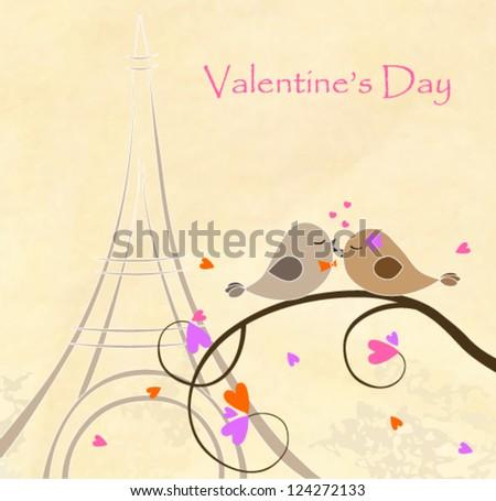love birds on the Eiffel Tower - stock vector
